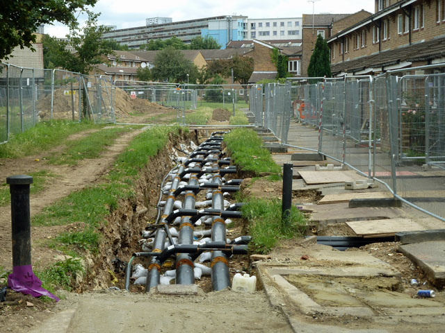 GSHP District Heating Pipework being replaced