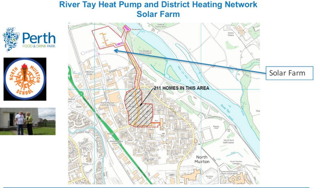 Map showing River Tay Water Source Heat Pump and District Heating Network along with the Solar Farm location